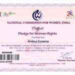 Certificate Of Pledge For Women Rights