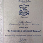 Education Today Certification of Achievement - Co-Curricular & Community Services